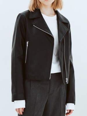 Lamb skin crop rider jacket black