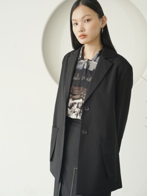 POCKET BELTED JACKET_Black
