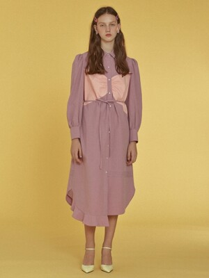 Ribbon Patch Shirts Dress _ Purple