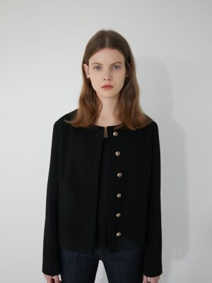 19' WINTER_BLACK ROUND NECK JACKET