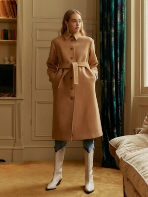 Single Maxi Coat in Beige_VW9WH0540