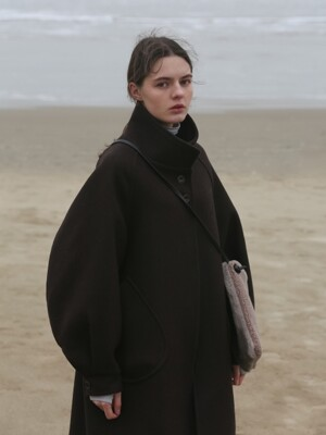 OVER DROP WOOL COAT - DARK BROWN