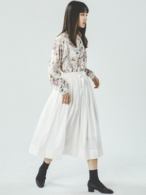 SHIRRING WHITE SKIRT