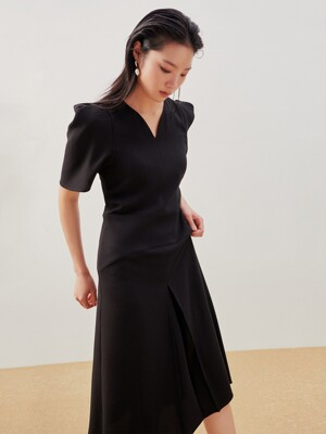 Puff Sleeve Water Drop Neck Dress Black