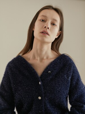 [BC20SSKN15] METAL YARN KNIT CARDIGAN [NAVY]