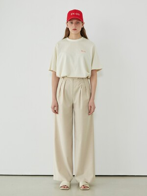 WIDE TUCK PANTS - BEIGE