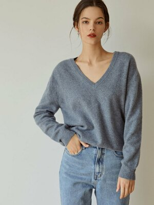 Soft Cashmere V-neck Knit(Blue)