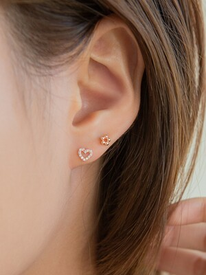 10k gold rosegold CZ heart earrings (10k 골드)