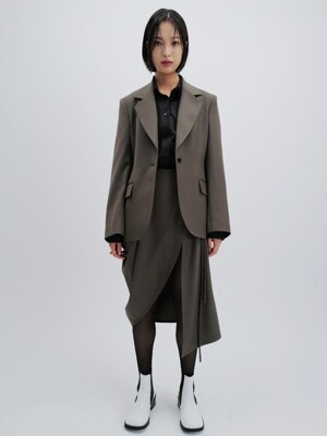 FLARED SLEEVE TAILORED WOOL JACKET (KHAKI)