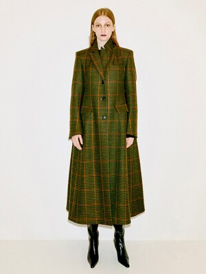 Single Breasted Wool Volume Coat [CHECK]