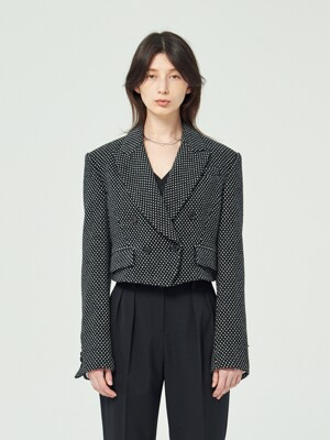 BLACK DOT WOOL CROPPED JACKET (JTJJ125)