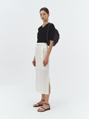 SUMMER-WOOL SLIT LONG SKIRT BUTTER CREAM_UDSK1E212CR