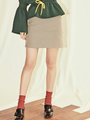CHECK BELTED SKIRT-BE