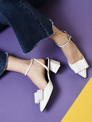 [3Way Shose] Three Layer Ribbon Sling Back White_R0036