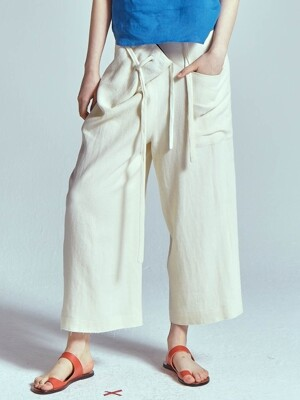 BUCKET WRAP LINEN WIDE PANTS [IVORY]