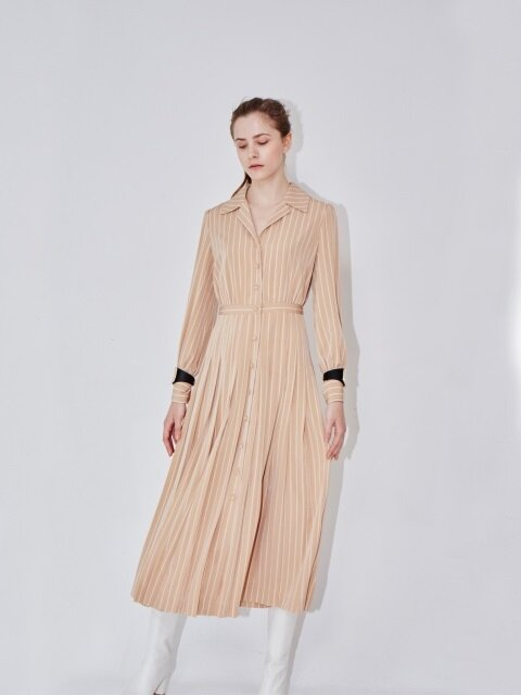 MILANO notched collar shirt dress (Beige pin stripe)