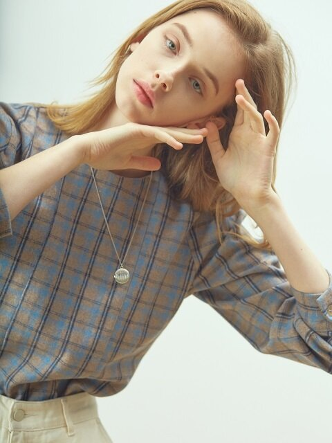 Wool check blouse (Lilac)