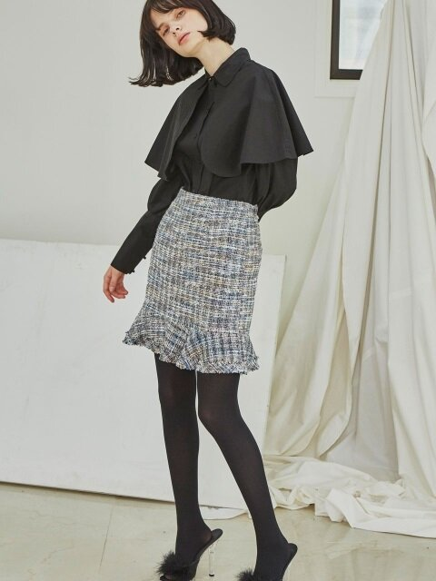 Tweed Ruffle Skirts_Blue