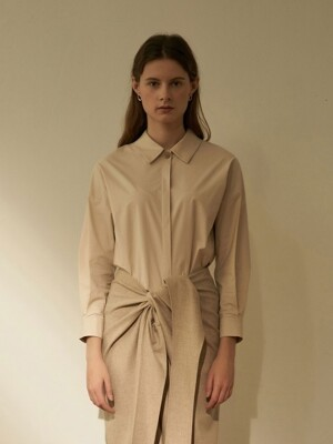 POINT ONE BUTTON SHIRT L/BEIGE