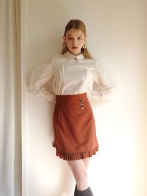 Pleats layered skirt (Brown)