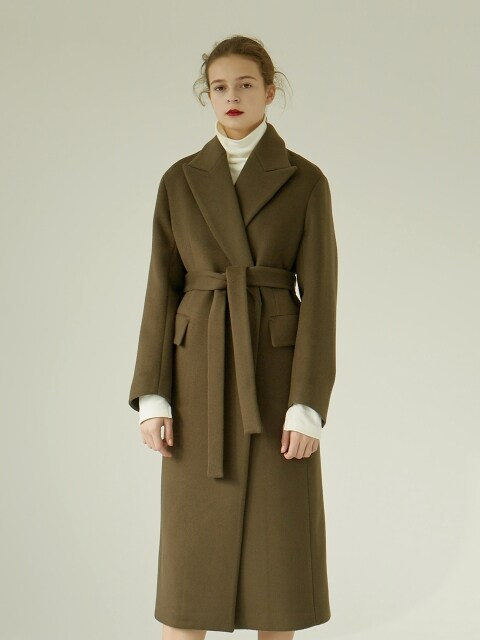 [EXCLUSIVE] 18FW PEAKED COLLAR LONG COAT KHAKI