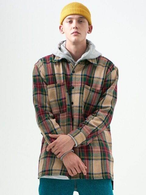 OVERSIZED CHECK SHIRTS_BIEGE
