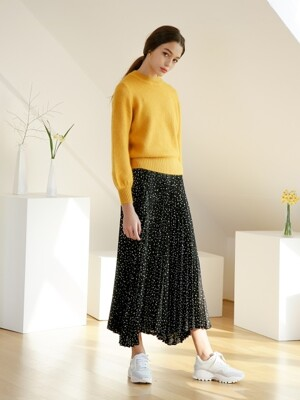 COLOR DOT PRINT PLEATS SKIRT