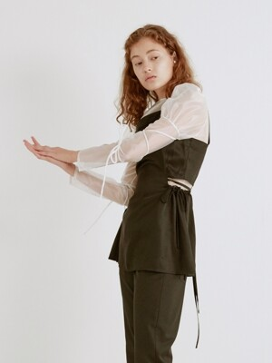 19SS BOW-DETAILED SATIN TOP (BLACK)