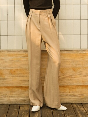 monts903 tuck pants with belt detail (grey-beige)