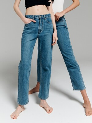 Mid-rise Straight Jeans_Blue