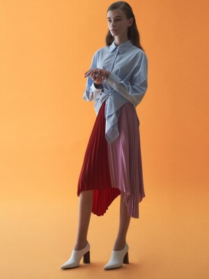 MIXED COLOR PLEATS SKIRT_RED