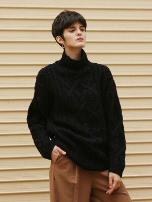 Cable knitted wool sweater_Navy