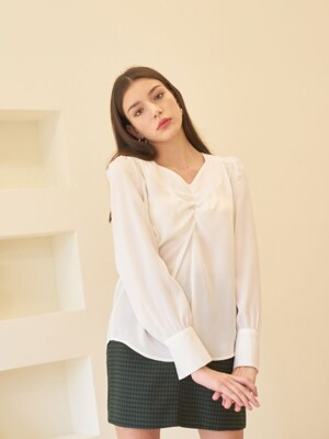 SHEEN SHIRRING BLOUSE WHITE