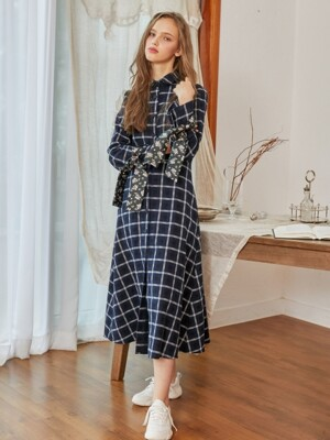 Gingham Check Long Flare Dress_Navy