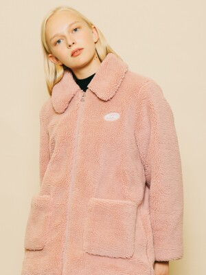 FLEECE ZIP-UP HALF COAT INDIPINK