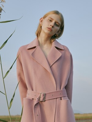 Premium handmade wool vivid coat in pink