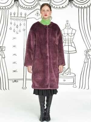 Roundneck Fur Coat _ Violet