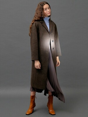 Herringbone Wool Long Coat in Brown (WS9Y30MG1D)