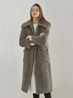 DUMBLE FLAT LONG COAT_CHARCOAL