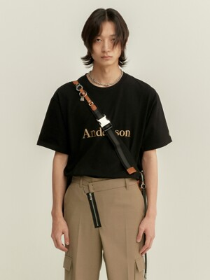UNISEX ANDERSSON SIGNATURE EMBROIDERY T-SHIRT atb211u(NEW BLACK)