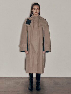 20FW COLOR BLOCK HOOD COAT - KHAKI
