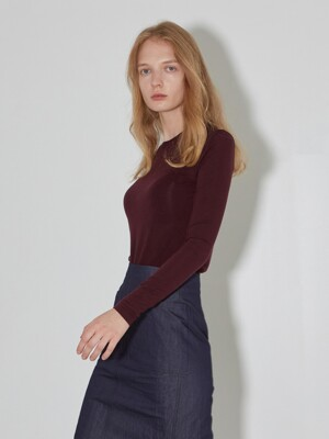 Wool blended Knit T-shirts_Burgundy