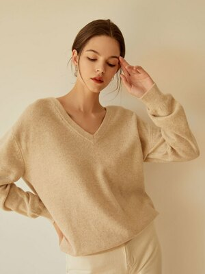 Soft Cashmere V-neck Knit(Beige)