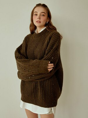 Cookie round wool knit(khaki)