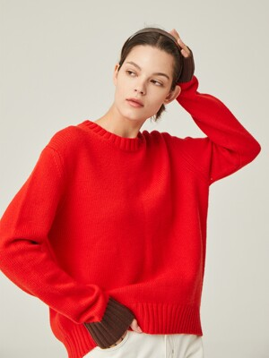 CENTRAL PARK Round knit (Vivid red)