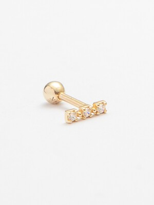 14k gold three layered CZ bar piercing (14k 골드) (바두께1mm)