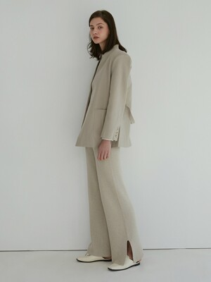 Ribbed Wide Pants (Cream)