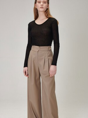 PLEATED WIDE LEG PANTS_KHAKI BEIGE