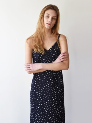 Midi Slip Dress _ Navy dots