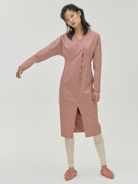Two-three Button Dress_Pink